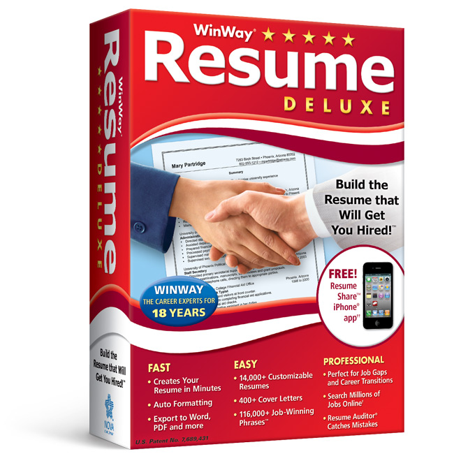 winway resume deluxe build the resume that will get you