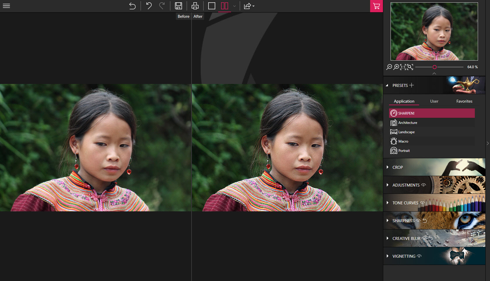 sharpness, oval frames, vignetting, impressive effects, high-resolution images